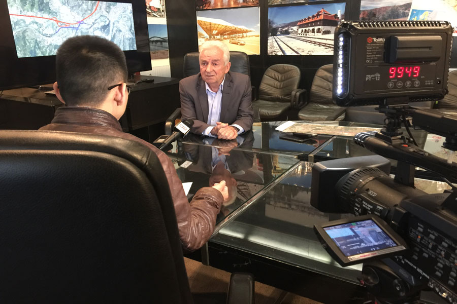 Milutin Ignjatovic, part of the rail project management team, being interviewed by CRI. [Photo: China Plus]