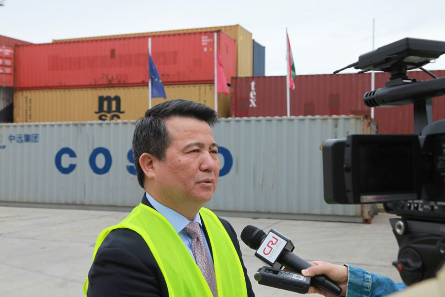 Luo Zhongming, the managing director of the COSCO Shipping Developing Company, being interviewed by CRI. [Photo: China Plus]