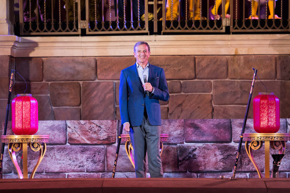 A photo taken on June 16, 2017 shows Chairman and CEO of Walt Disney addresses the first anniversary of Shanghai Disney Resort. [Photo courtesy of Shanghai Disney Resort]