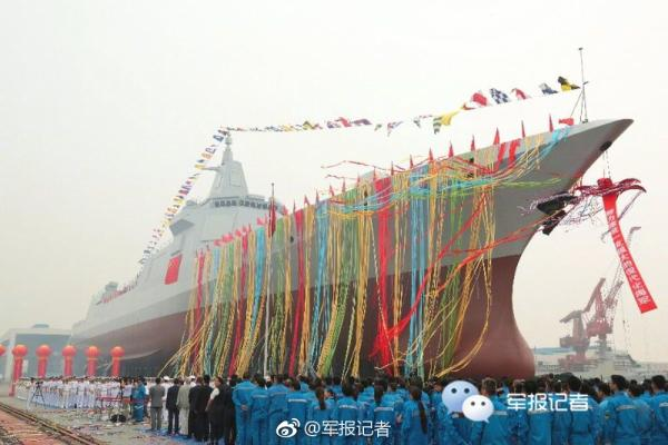 The photo shows the newly-launched 10,000-tonne destroyer. [Photo: Wechat]