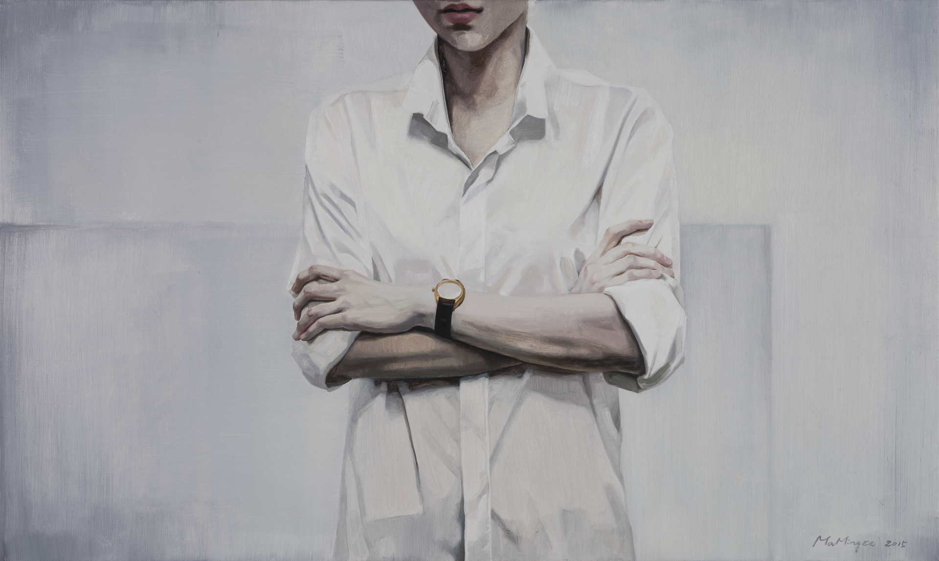 Ma Mingze's oil on canvas work named 'The Watch Isn't a Timepiece' is on display at her solo exhibition at Parkview Green Art in Beijing's 798 Art Zone. Her first-ever exhibition will run from July 8 to August 20, 2017. [Photo provided to China Plus]