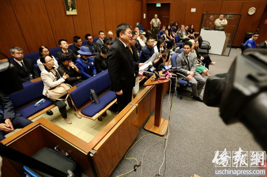 Xinran Ji's parents and the community appeared in the Criminal Court of Los Angeles County, waiting for the judgement. [Photo: uschinapress.com]